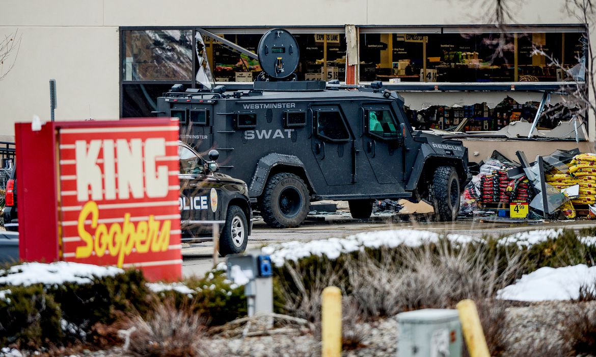 Emergency crews respond to a call of an active shooter at the King Soopers grocery store in Boulder