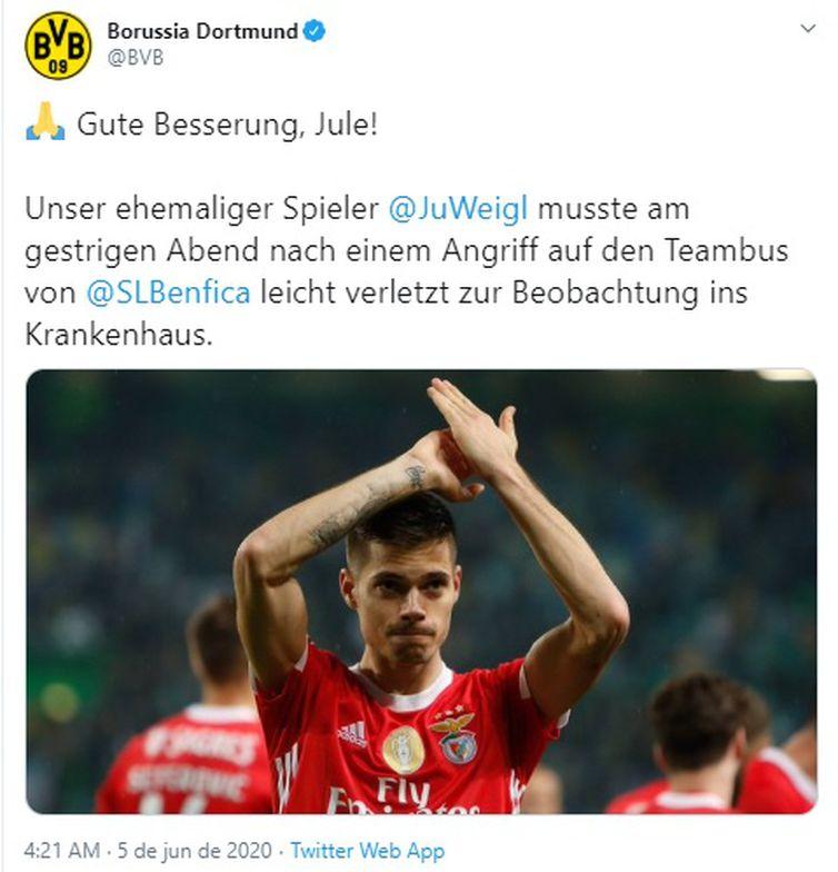 Borussia Dortmund publicou mensagem de apoio ao jogador Weigl
