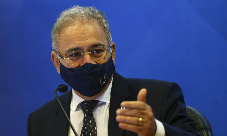 O Ministro da Saúde, Marcelo Queiroga, durante o lançamento do Plano Nacional de Fortalecimento das Residências em Saúde.