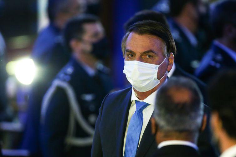 O presidente Jair Bolsonaro, durante o anunciou dos nomes das empresas selecionadas para parcerias no Programa Espacial de Alcântara.