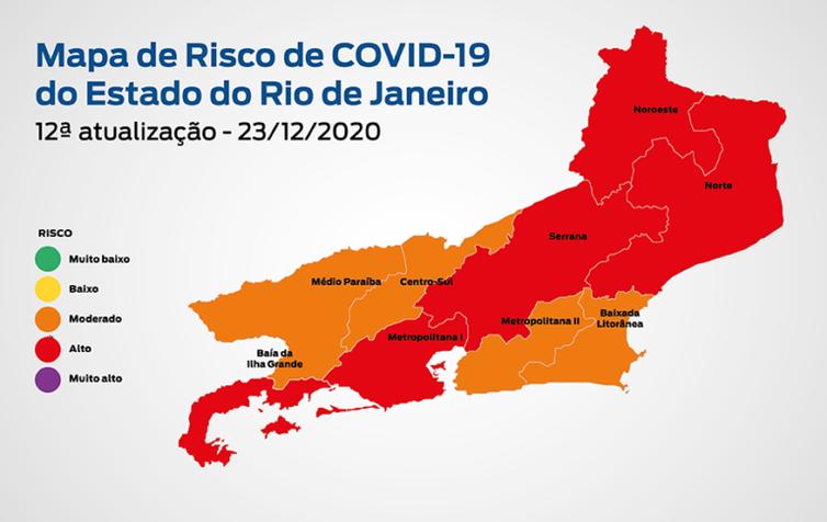 Mapa de risco de covid-19 no estado do Rio de Janeiro