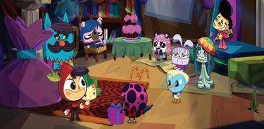 Em as microaventuras de Tito e Muda, os personagens comemoram o aniversário de Victor-Pugo