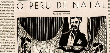 Ilustração de Aldemir Martins para o Jornal da Tarde, que publicou o conto de Mário de Andrade em 25 de dezembro de 1949