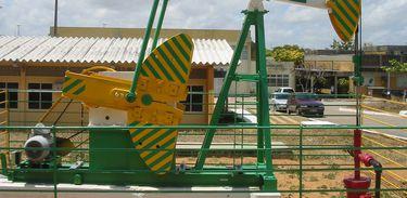 Modelo de cavalo mecânico em operação. Campus da Universidade Federal do Rio Grande do Norte, Natal, Brasil.