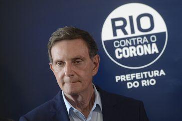 O prefeito do Rio de Janeiro, Marcelo Crivella, apresenta medidas e resultados do Gabinete de Crise montado para lidar com a pandemia do novo coronavírus (Covid-19).