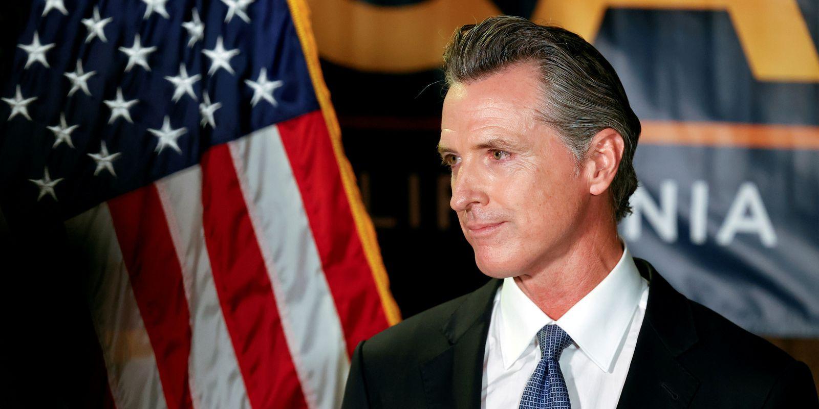 Governador da Califórnia, Gavin Newsom, em Sacramento