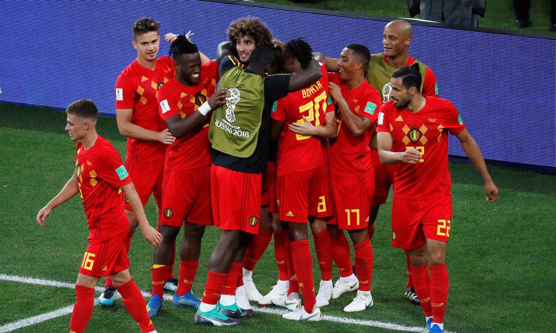 Copa 2018: Inglaterra e Bélgica. Comemoração do primeiro gol da Bélgica.