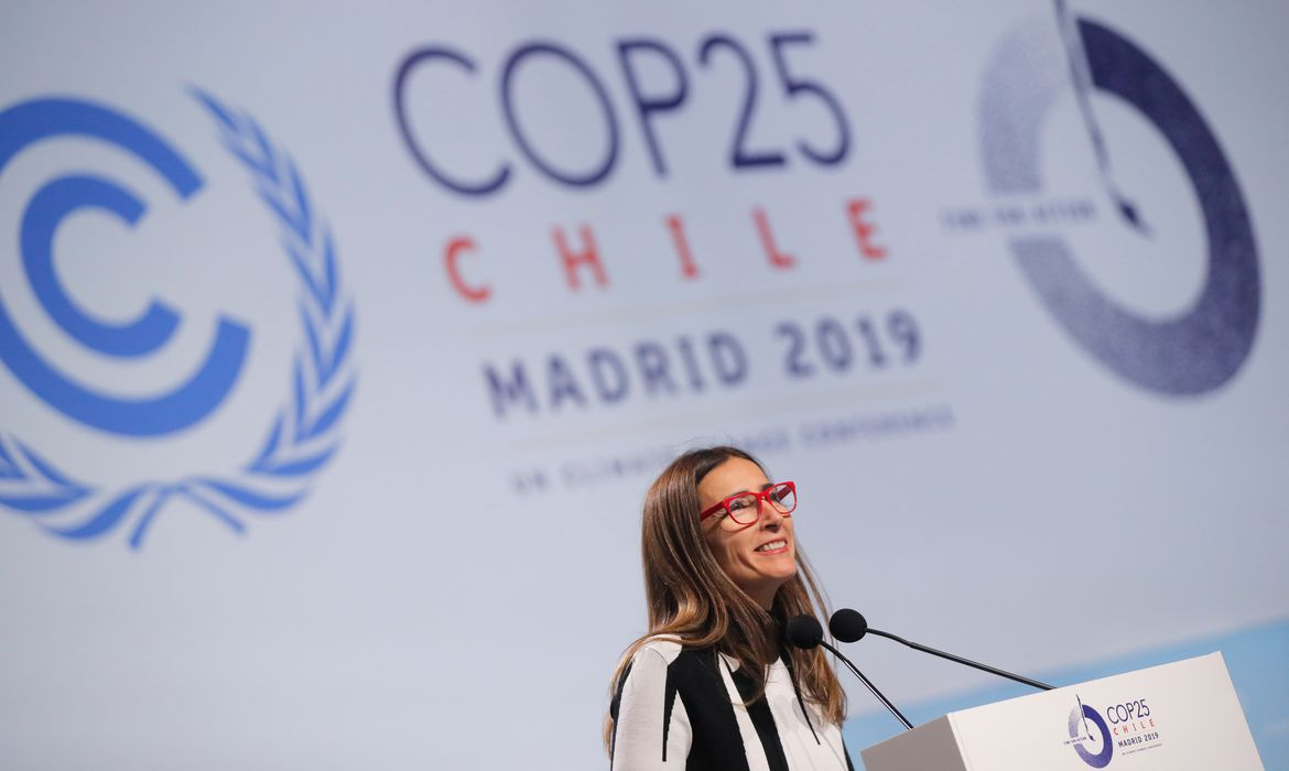 Carolina Schmidt, Chile's Minister of Environment and new president of the 2019 U.N. climate change conference (COP25), speaks at the opening ceremony of the COP25 in Madrid, Spain, December 2, 2019. REUTERS/Susana Vera