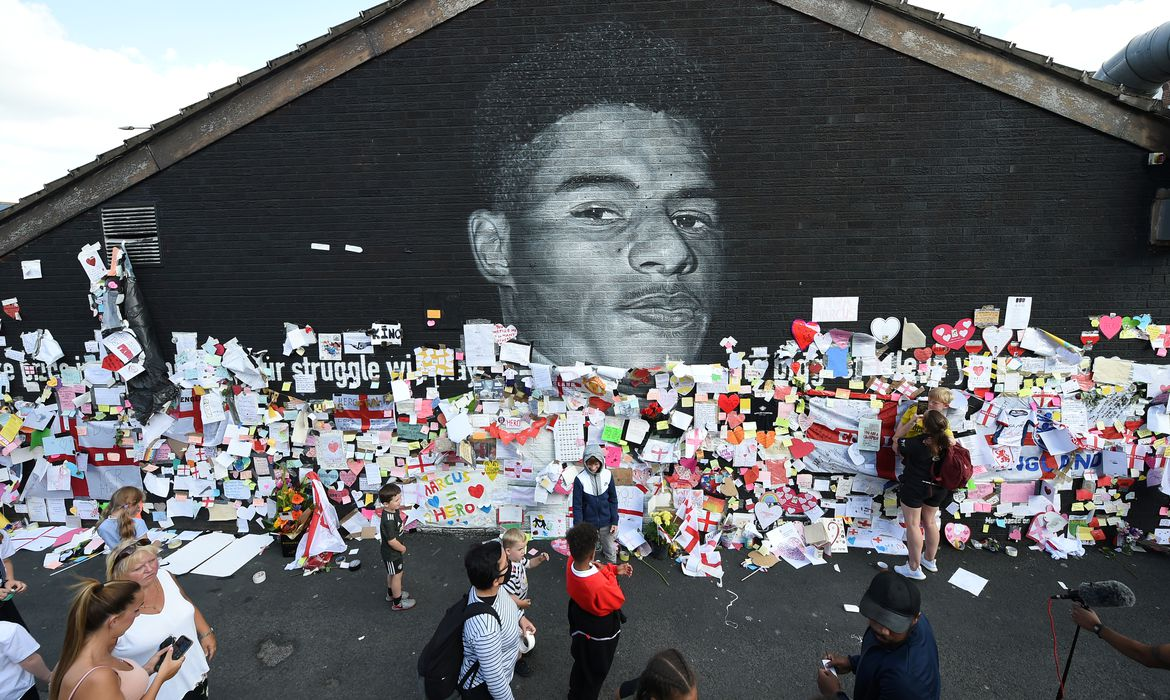 FILE PHOTO: Stand Up to Racism Demonstration at the Marcus Rashford mural after it was defaced following the Euro 2020 Final between Italy and England