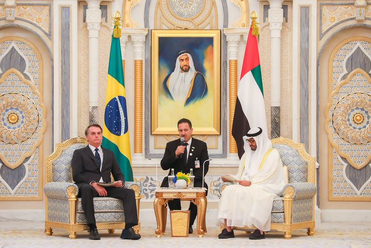 Xeique Mohamed bin Zayed Al Nahyan e Jair Bolsonaro