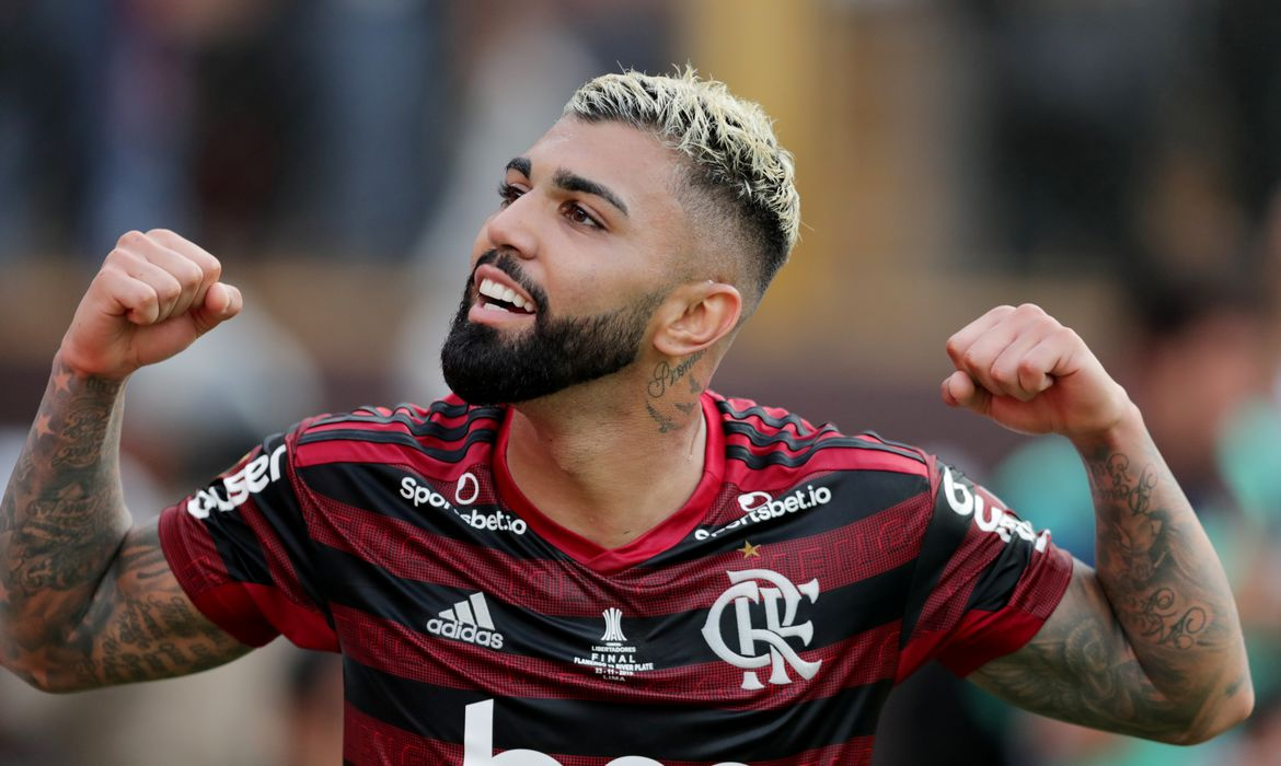 Soccer Football - Copa Libertadores - Final - Flamengo v River Plate - Monumental Stadium, Lima, Peru - November 23, 2019  Flamengo's Gabriel Barbosa celebrates scoring their second goal   REUTERS/Guadalupe Pardo