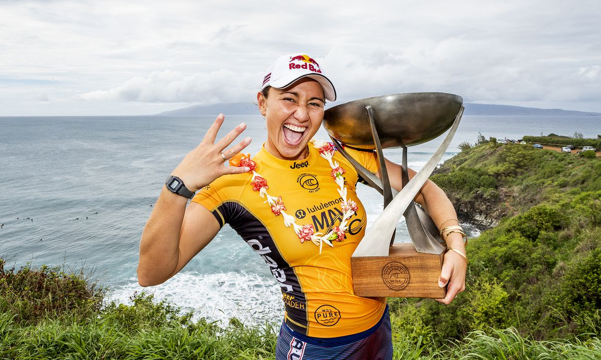 MAUI, UNITED STATES - DECEMBER 2: Carissa Moore of Hawaii wins her fourth WSL World Title at Honolua Bay on December 2, 2019 in Maui, United States.  (Photo by Kelly Cestari/WSL via Getty Images)