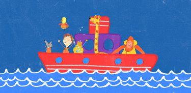 Pablo e seus amigos passeando de barco