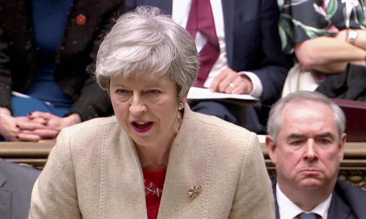 Britain's Prime Minister Theresa May speaks in the Parliament in London, Britain, March 29, 2019 in this screen grab taken from video. Reuters TV via REUTERS