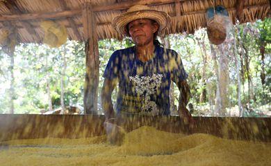 Santarém (PA) - Na Comunidade Anã, Maria Lucidalva Godinho trabalha na produção de farinha