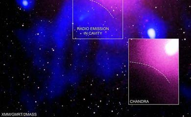 A evidência para a maior explosão vista no Universo vem de uma combinação de dados de raios X de Chandra e XMM-Newton, e o Murchison Widefield Array e o Giant Metrewave Telescope